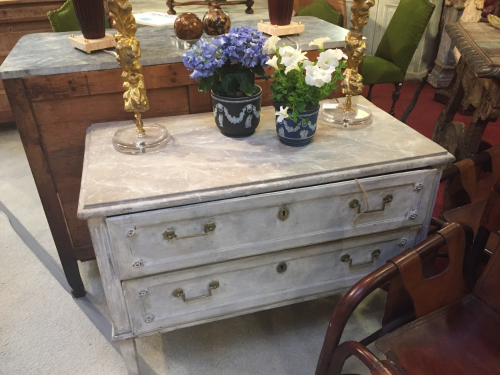 A beautiful painted Swedish commode offered by French Bleu Antiques