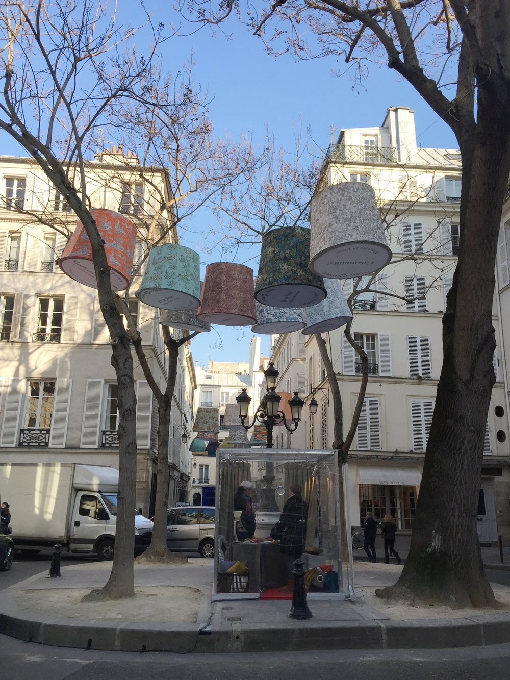 Colorful lanterns adorning the street during Paris Deco Off 2017